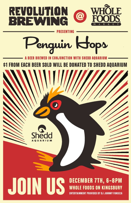 Revolution Brewing, Whole Foods 'Penguin Hops' event this Friday