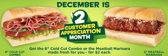 Subway $2 subs